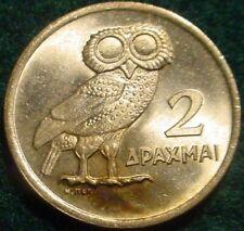 HI GRADE BU 1973 2 DRACHMAI GREECE**OWL**SUPERB DETAILS**