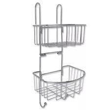 2 Tier Large Hanging Shower Caddy Metal Bathroom Storage Rack Shelf Organiser