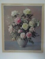 Charles Buchel. Still Life of Flowers, Peonies in a Vase. Lge Oil 1945. Listed
