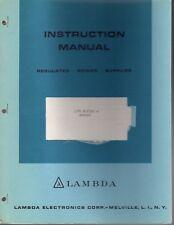 Lambda Instruction Manual Regulated Power Supplies LPD Suffix A Series