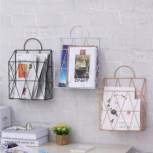 Newspaper Magazine Organizer Office Wire Basket Wall Mounted Post Rack Storage