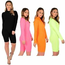 Ladies Neon All In One Unitard Fitness Playsuit Short Dress 8-14