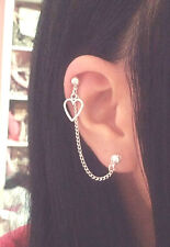 Heart Charm Cartilage Chain Helix Cuff Earring Piercing Simple Silver Jewellery