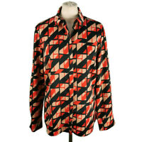 M&S Size 12 Black Orange Peach Silky Long Sleeve Abstract Blouse Shirt Top