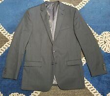 Egara Slim FIt blue gray stripe Suit Men's Size 44L Blazer Sport Coat Jacket