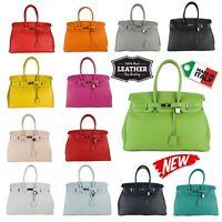 Women Lady Handbag Satchel Genuine Real Leather Birkin Style Bag made in italy