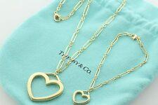 Tiffany & Co. 18K 750 Yellow Gold Rolo Link Heart Char Necklace & Bracelet Set