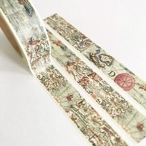 Vintage Map Paper Washi Tape - 15mm x 10m - Stationery Craft Journalling Travel