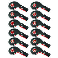 Craftsman Iron Golf Headcovers Set 12Pcs For Taylormade Mizuno Black~Red Leather
