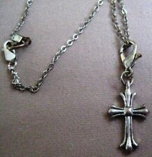 "with tiny cross charm, gift boxed Delicate Retro 8"" silver plate bracelet/Anklet"