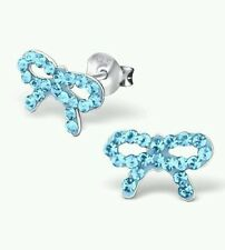 Le ragazze per bambini 925 Argento Sterling Aqua Orecchini A Perno Cristallo Bow-Sacchetto di Seta