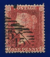 1857 SG41 1d Deep Rose-Red C10(4) OF London '45' Good Used CV-FU £20 canc