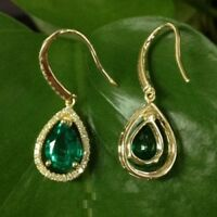 7 x 5 mm Pear Cut Emerald Halo Drop & Dangle Earrings 14K Yellow Gold Over