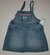 Oshkosh Girls Denim Blue Jean Jumper Dress Overalls Skirt 3t Braided Straps