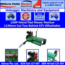 Millers Falls 1150mm 13HP Petrol Offsettable Tow Behind Flail Mower Mulcher