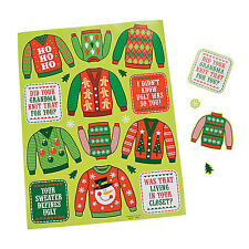 Christmas Holiday Ugly Sweater Party Favors Sticker Sheets (12 Sheets)