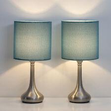 Set of 2 Bedside Table Lamps Modern Design Line Fabric...