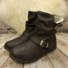 Womens Atmosphere Sole Desire Brown Pull On Fleece Lined Ankle Boots UK 7 EUR 41