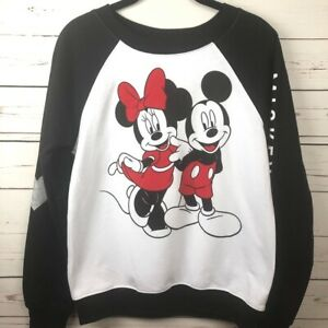 Disney Mickey & Minnie Sweatshirt Junior Size 3-5 Cartoon Heart Love Crew Neck