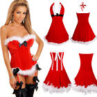 Christmas Sexy Women Santa Xmas Fancy Dress Overbust Top Corset Bustier Costumes
