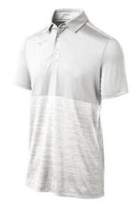 BRAND NEW - MIZUNO Mens MEDIUM Alpha Polo Golf Shirt - Short Sleeve - WHITE NWT
