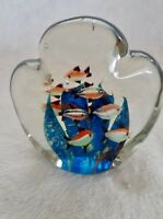 Vintage Murano Double Sided Fish Aquarium Paperweight 1960's, 10 fish