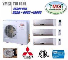 YMGI 36000 BTU Tri ZONE DUCTLESS MINI SPLIT AIR CONDITIONER HEAT PUMP 2X09+18