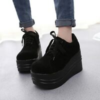 Women's Lace Up Gothic Punk Platform High Heel Round Toe Low Top Shoes Creepers