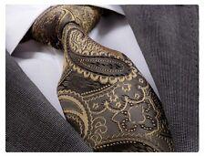 Nouveau design italien Kaki Gold Paisley Cravate en soie