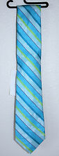 Michelsons of London Men's Floral Stripe Neck Tie MILNF14S03 Teal 100% Silk