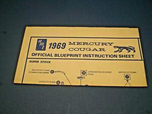 "AMT "" 1969 Mercury Cougar "" Original Blueprint model kit Instruction sheet"
