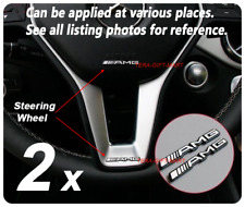 2x Aluminium Mercedes Benz AMG Steering Wheel Badge Logo Emblem Sticker Various