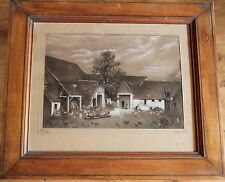 DIBUJO ANTIGUO Mine de plomo GRANJA 1856 - Firmado