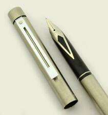 Sheaffer Targa 1001S Slim Fountain Pen - Brushed Steel, Medium Steel Nib (New)