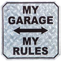 My Garage My Rules Metal Diamond Plate Silver Sign Vintage Look