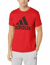 Adidas Men's Crew Neck Short Sleeve Badge of Sport Graphic Tee (Red, L)