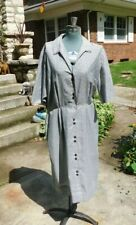 Vintage 1950's / 60's Mid Century Gray Checker Rockabilly Cotton Dress B38 W29