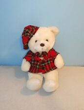 "Vintage 14"" Gerber Precious Plush Plaid Shirt & Hat Teddy Bear Stuffed Plush"