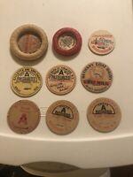 Collection Lot Of Nine Vintage Milk Dairy Bottle Cardboard Tops Lids Labels