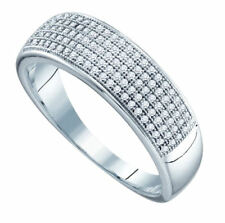Mens 5 Row Diamond Wedding Band .40ct 10K White Gold Size 10