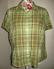 Women's Villager Liz Claiborne Green Plaid Camp Shirt, Size 18