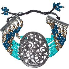 Flower Medallion Turquoise Blue Bronze Seed Bead Silver Cord Thread Bracelet