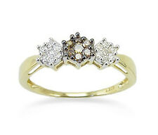 Chocolate Brown & White Diamond Trio Cluster Ring .26ct 10K Yellow Gold Band