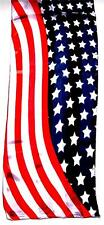 SCARF Long Red White & Blue Broad Stripes & Bright Stars AMERICAN FLAG