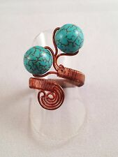 Handmade Wire Work Chunky Wrap Ring Turquoise Gemstones & Copper Wire Adjustable