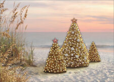 Tip On Trees on Beach Handcrafted Alan Giana Warm Weather Christmas Card