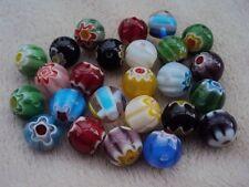 40 Millefiori cristal cuentas redondas de 10 mm. Surtido De Colores. tamaño 10 Mm.