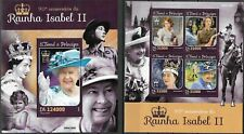 """S.TOME - 2016 MNH """"90th Birthday Of Queen ELIZABETH II"""" Two Souvenir Sheets !!"""