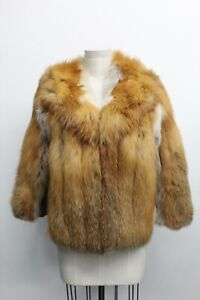 Red Fox Fur Collared Jacket with Brown Leather Panel Jacket Coat Size M/L