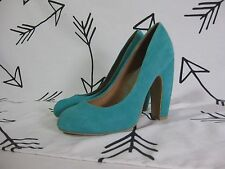 Women's KIMCHI BLUE SUEDE HEELS Turquoise Teal Green Size 7.5 Leather High Round